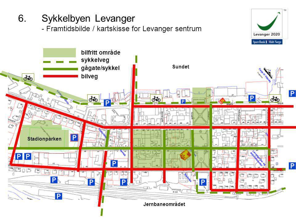 Jernbaneområdet Stadionparken Sundet sykkelveg gågate/sykkel bilveg bilfritt område 6.Sykkelbyen Levanger - Framtidsbilde / kartskisse for Levanger sentrum