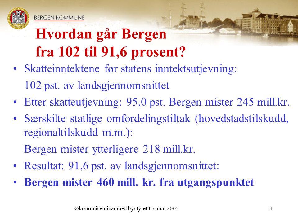 Økonomiseminar med bystyret 15. mai 20031 Hvordan går Bergen fra 102 til 91,6 prosent.
