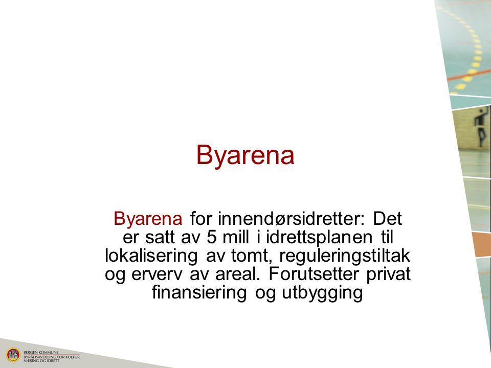Byarena Byarena for innendørsidretter: Det er satt av 5 mill i idrettsplanen til lokalisering av tomt, reguleringstiltak og erverv av areal.