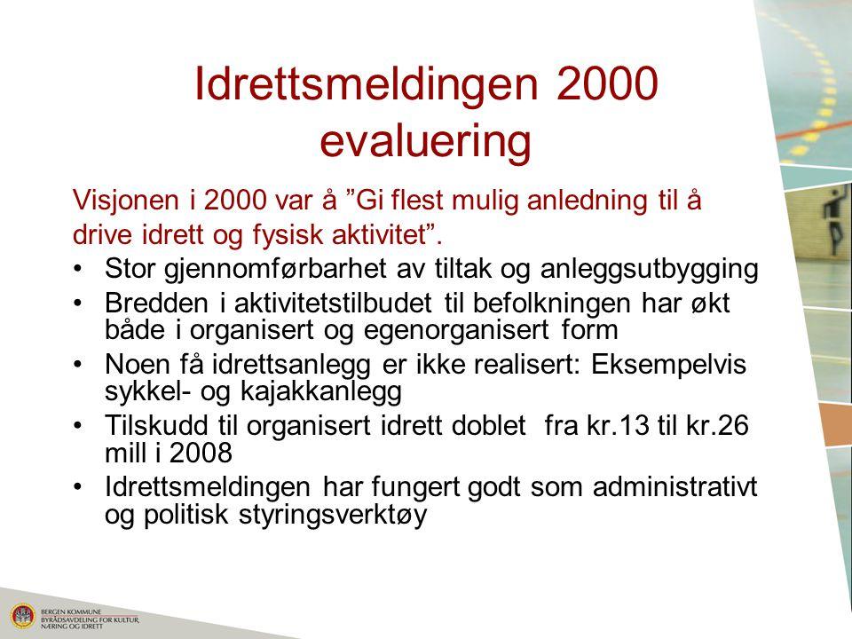 Idrettsmeldingen 2000 evaluering Visjonen i 2000 var å Gi flest mulig anledning til å drive idrett og fysisk aktivitet .
