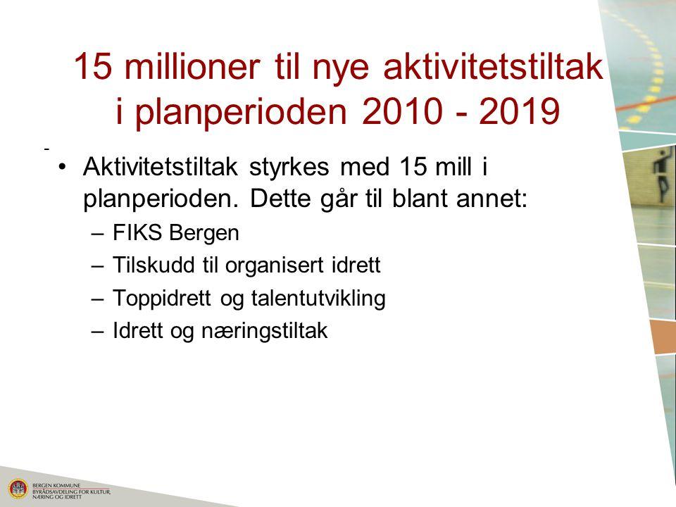 - 15 millioner til nye aktivitetstiltak i planperioden 2010 - 2019 Aktivitetstiltak styrkes med 15 mill i planperioden.