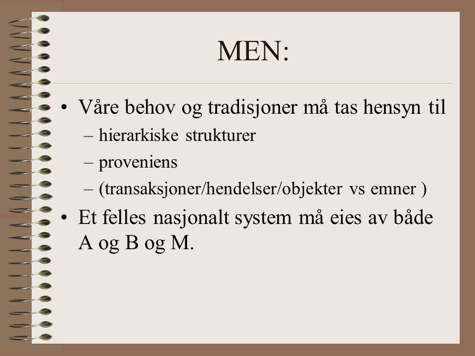 MEN: Våre behov og tradisjoner må tas hensyn til –hierarkiske strukturer –proveniens –(transaksjoner/hendelser/objekter vs emner ) Et felles nasjonalt