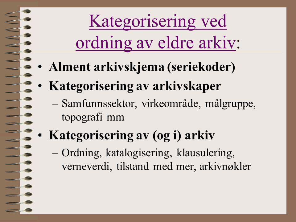 Kategorisering ved ordning av eldre arkivKategorisering ved ordning av eldre arkiv: Alment arkivskjema (seriekoder) Kategorisering av arkivskaper –Sam