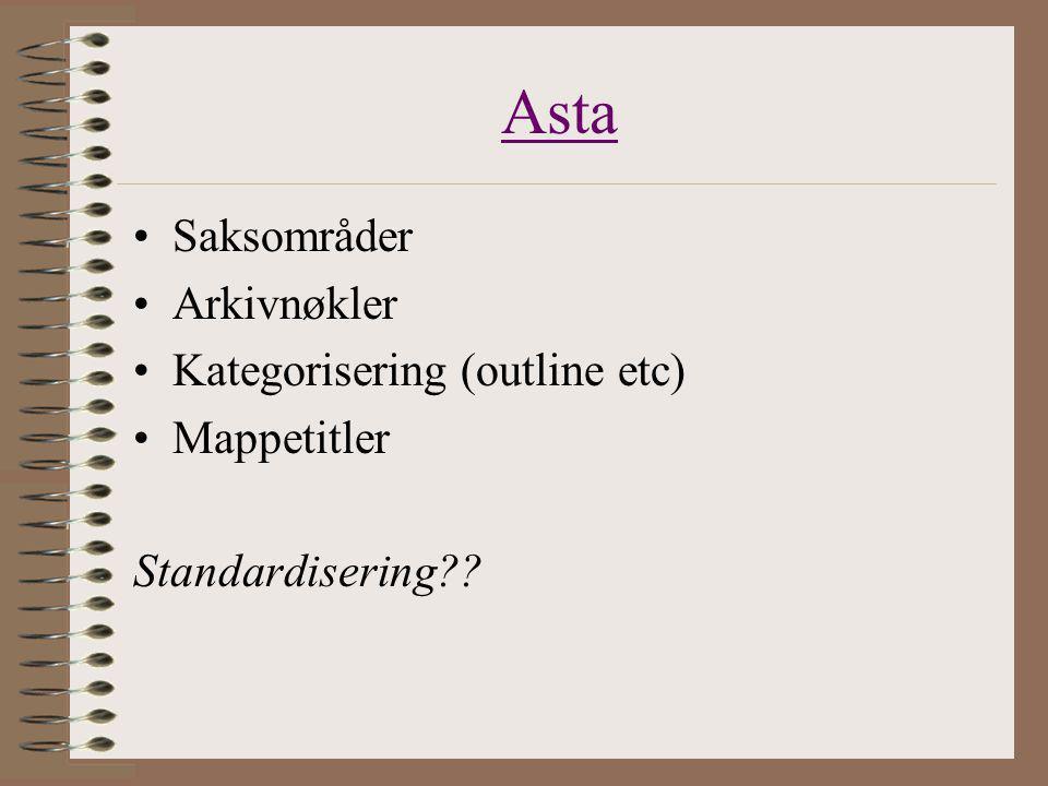 Asta Saksområder Arkivnøkler Kategorisering (outline etc) Mappetitler Standardisering??