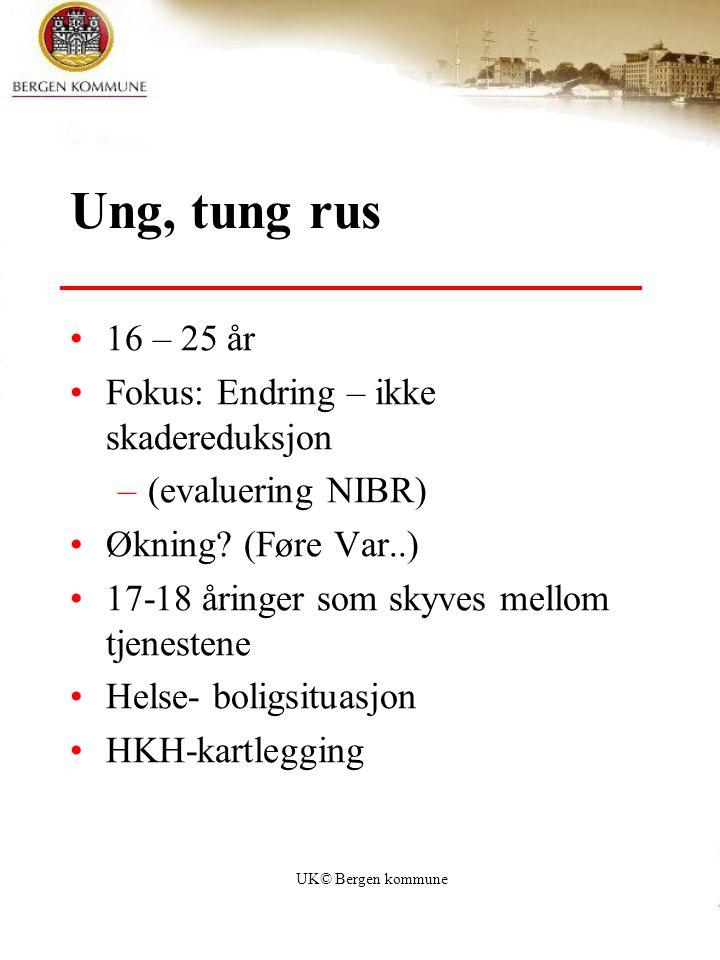 UK© Bergen kommune Ung, tung rus 16 – 25 år Fokus: Endring – ikke skadereduksjon –(evaluering NIBR) Økning? (Føre Var..) 17-18 åringer som skyves mell