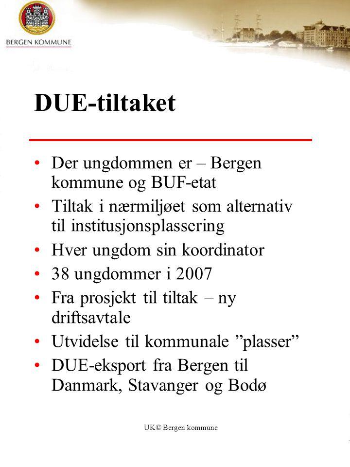 UK© Bergen kommune DUE-tiltaket Der ungdommen er – Bergen kommune og BUF-etat Tiltak i nærmiljøet som alternativ til institusjonsplassering Hver ungdo