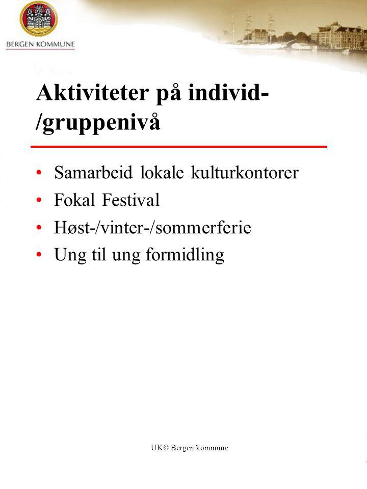 UK© Bergen kommune Aktiviteter på individ- /gruppenivå Samarbeid lokale kulturkontorer Fokal Festival Høst-/vinter-/sommerferie Ung til ung formidling