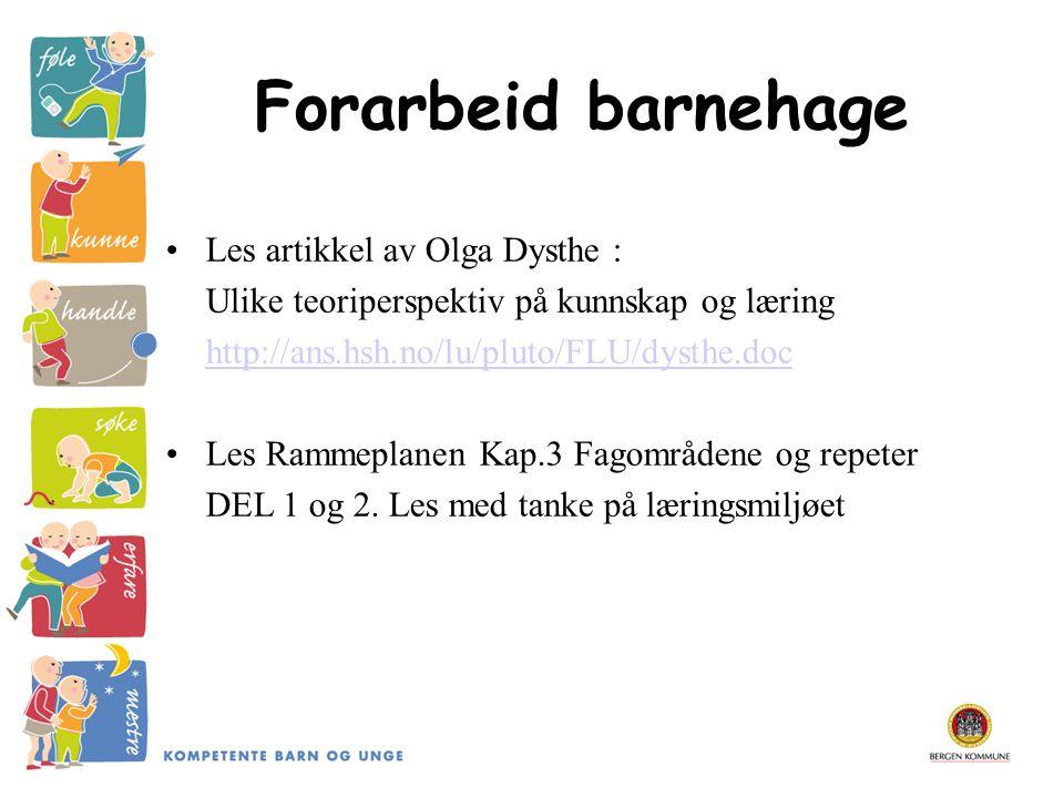 Forarbeid barnehage Les artikkel av Olga Dysthe : Ulike teoriperspektiv på kunnskap og læring http://ans.hsh.no/lu/pluto/FLU/dysthe.doc Les Rammeplane