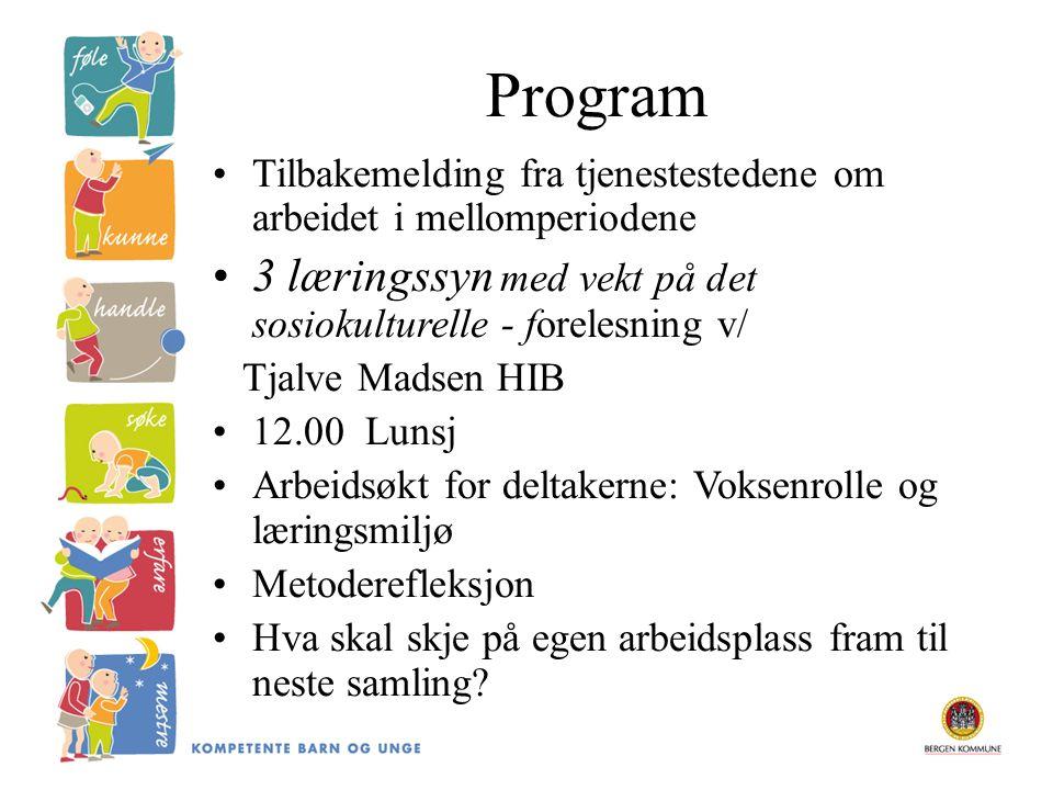 Program Tilbakemelding fra tjenestestedene om arbeidet i mellomperiodene 3 læringssyn med vekt på det sosiokulturelle - forelesning v/ Tjalve Madsen H