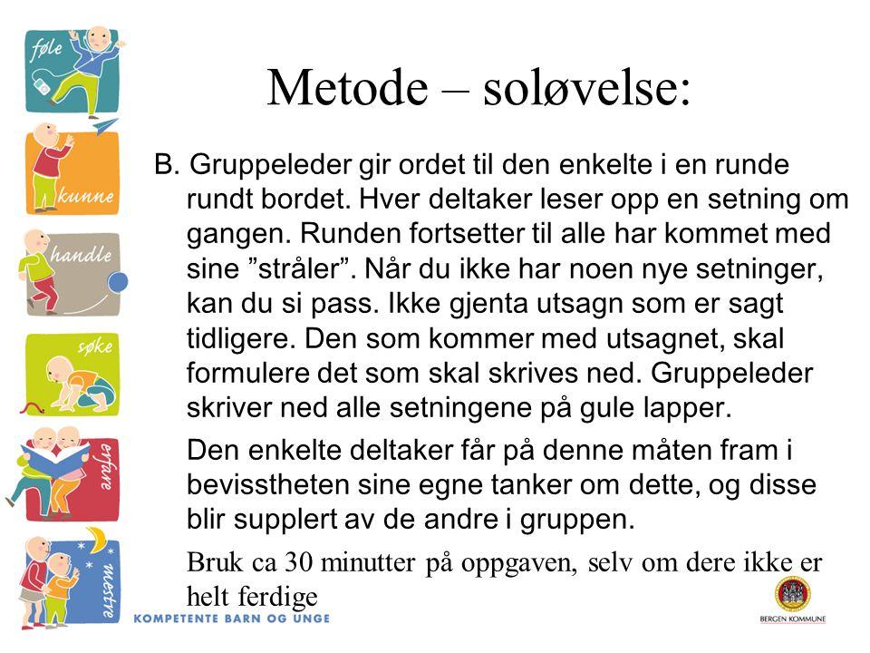 Metode – soløvelse: B. Gruppeleder gir ordet til den enkelte i en runde rundt bordet. Hver deltaker leser opp en setning om gangen. Runden fortsetter