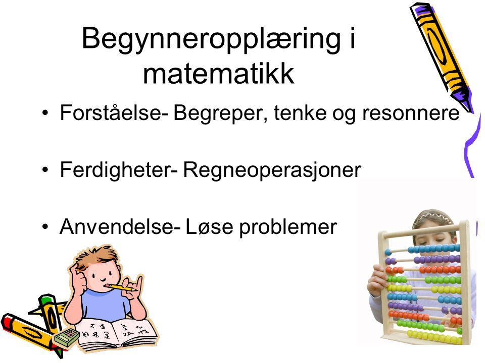 Begynneropplæring i matematikk Forståelse- Begreper, tenke og resonnere Ferdigheter- Regneoperasjoner Anvendelse- Løse problemer