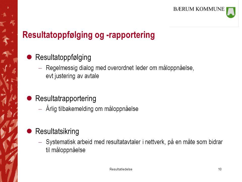 Resultatledelse10 Resultatoppfølging og -rapportering lResultatoppfølging  Regelmessig dialog med overordnet leder om måloppnåelse, evt justering av
