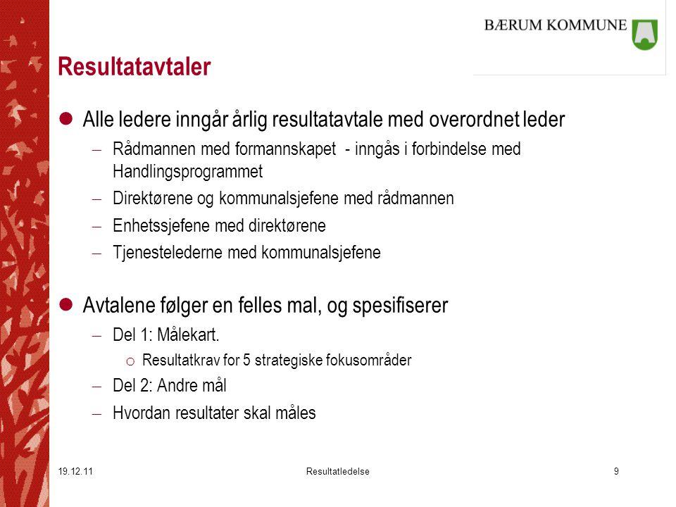 19.12.11Resultatledelse9 Resultatavtaler lAlle ledere inngår årlig resultatavtale med overordnet leder  Rådmannen med formannskapet - inngås i forbin