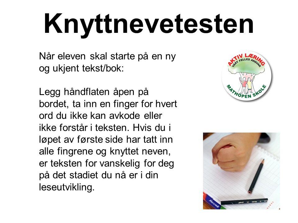 Knyttnevetesten Når eleven skal starte på en ny og ukjent tekst/bok: Legg håndflaten åpen på bordet, ta inn en finger for hvert ord du ikke kan avkode eller ikke forstår i teksten.