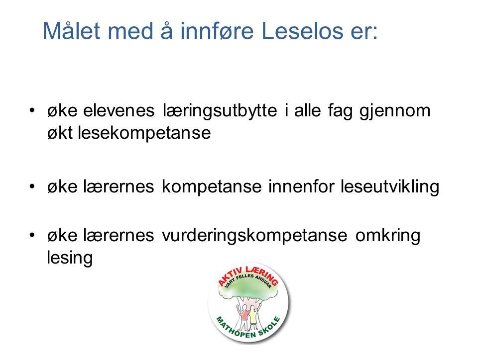 Målet med å innføre Leselos er: øke elevenes læringsutbytte i alle fag gjennom økt lesekompetanse øke lærernes kompetanse innenfor leseutvikling øke l