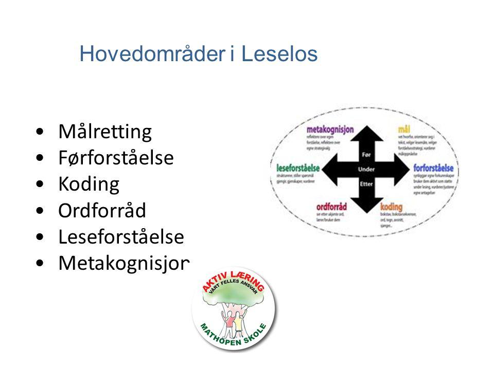 Hovedområder i Leselos Målretting Førforståelse Koding Ordforråd Leseforståelse Metakognisjon