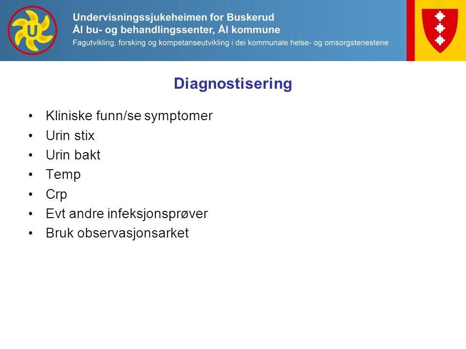 Diagnostisering Kliniske funn/se symptomer Urin stix Urin bakt Temp Crp Evt andre infeksjonsprøver Bruk observasjonsarket