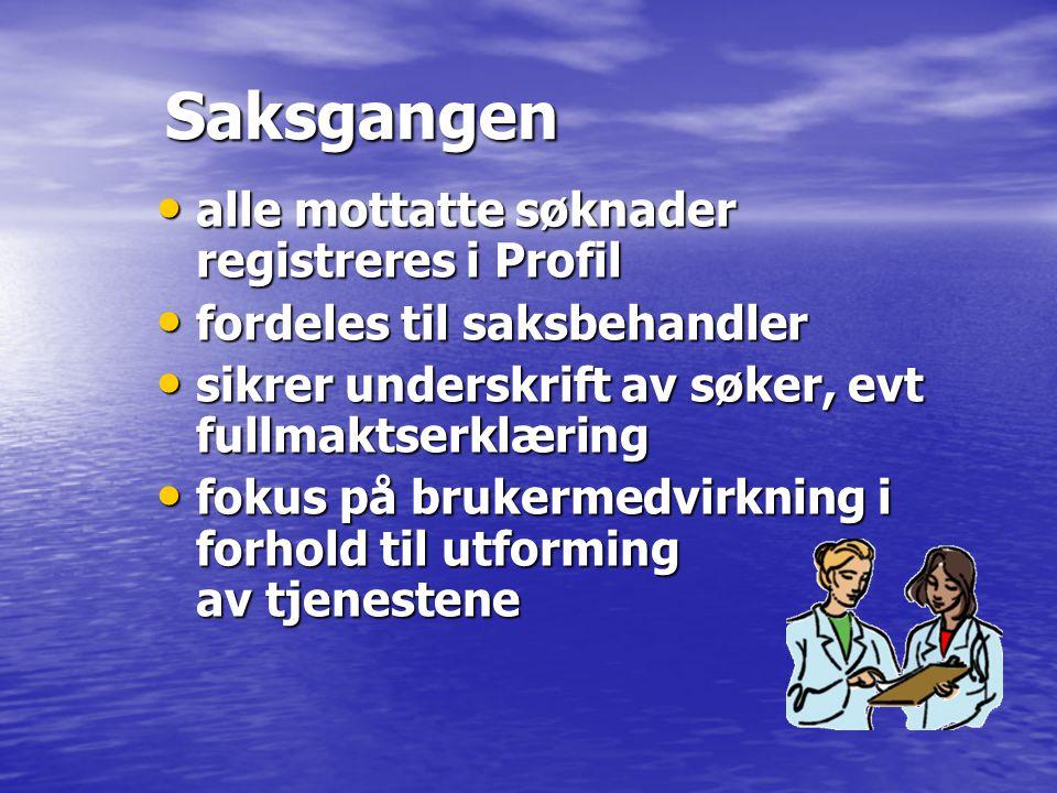 Saksgangen alle mottatte søknader registreres i Profil alle mottatte søknader registreres i Profil fordeles til saksbehandler fordeles til saksbehandl