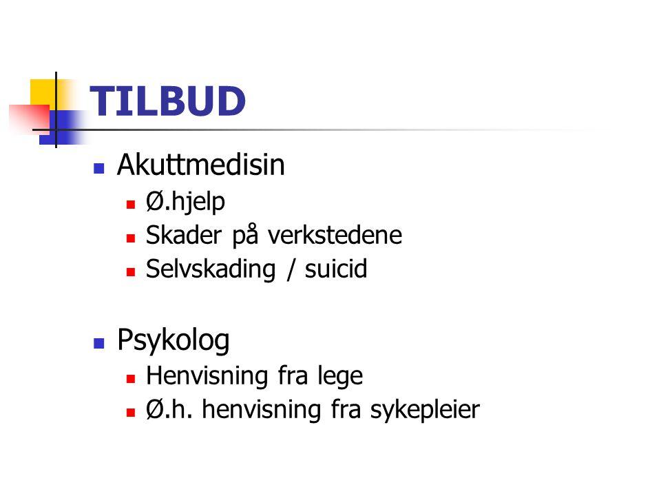 TILBUD Akuttmedisin Ø.hjelp Skader på verkstedene Selvskading / suicid Psykolog Henvisning fra lege Ø.h. henvisning fra sykepleier
