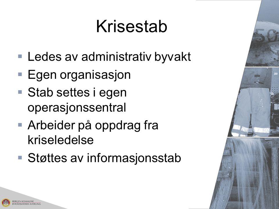 Krisestab  Ledes av administrativ byvakt  Egen organisasjon  Stab settes i egen operasjonssentral  Arbeider på oppdrag fra kriseledelse  Støttes