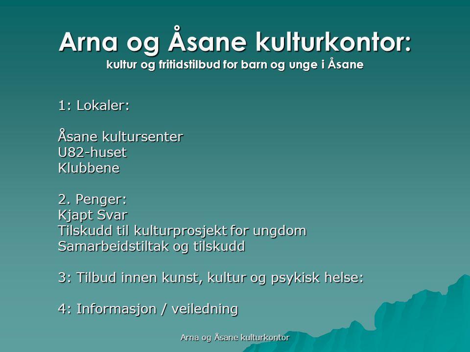 Arna og Åsane kulturkontor: kultur og fritidstilbud for barn og unge i Åsane 1: Lokaler: Åsane kultursenter U82-husetKlubbene 2.