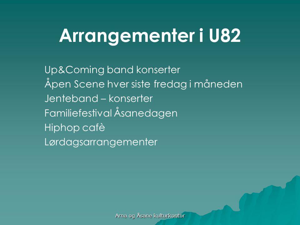 Arrangementer i U82 Up&Coming band konserter Åpen Scene hver siste fredag i måneden Jenteband – konserter Familiefestival Åsanedagen Hiphop cafè Lørdagsarrangementer Arna og Åsane kulturkontor