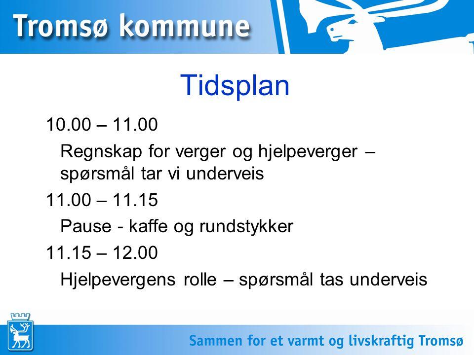 Tidsplan 10.00 – 11.00 Regnskap for verger og hjelpeverger – spørsmål tar vi underveis 11.00 – 11.15 Pause - kaffe og rundstykker 11.15 – 12.00 Hjelpevergens rolle – spørsmål tas underveis