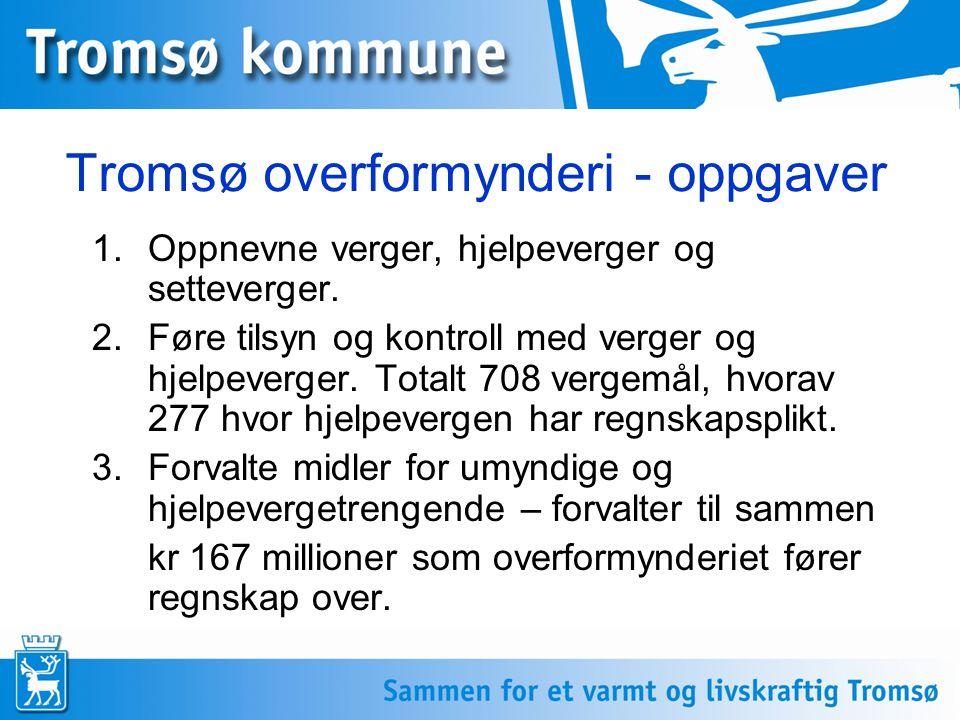 Tromsø overformynderi - oppgaver 1.Oppnevne verger, hjelpeverger og setteverger. 2.Føre tilsyn og kontroll med verger og hjelpeverger. Totalt 708 verg
