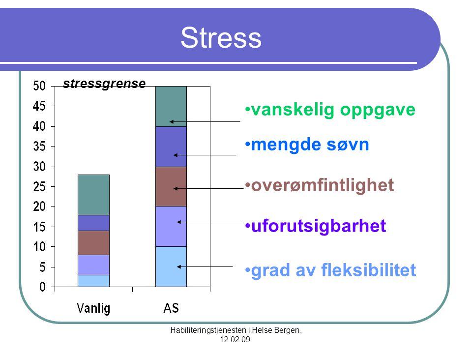 Habiliteringstjenesten i Helse Bergen, 12.02.09. Stress vanskelig oppgave mengde søvn overømfintlighet uforutsigbarhet grad av fleksibilitet stressgre