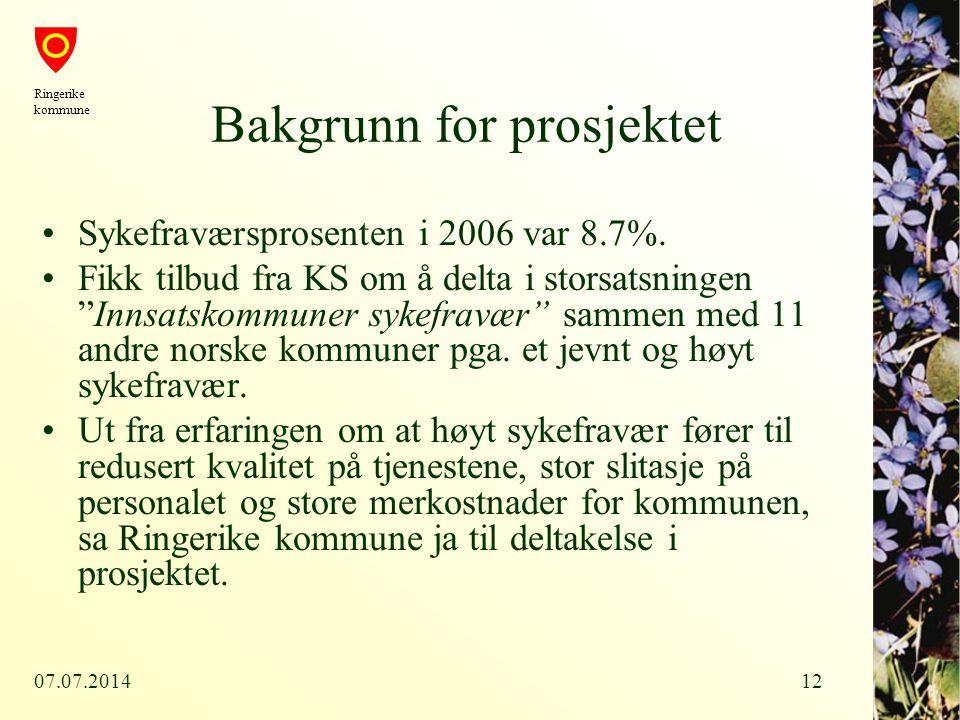 """07.07.201412 Bakgrunn for prosjektet Sykefraværsprosenten i 2006 var 8.7%. Fikk tilbud fra KS om å delta i storsatsningen """"Innsatskommuner sykefravær"""""""