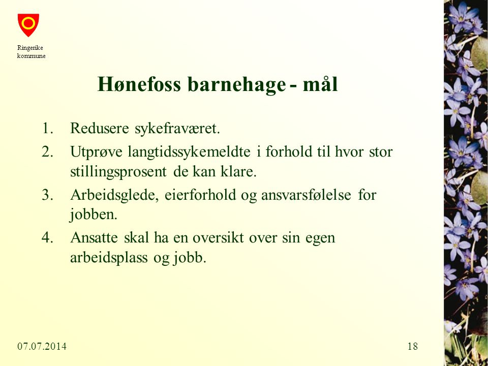 07.07.201418 Hønefoss barnehage - mål 1.Redusere sykefraværet. 2.Utprøve langtidssykemeldte i forhold til hvor stor stillingsprosent de kan klare. 3.A