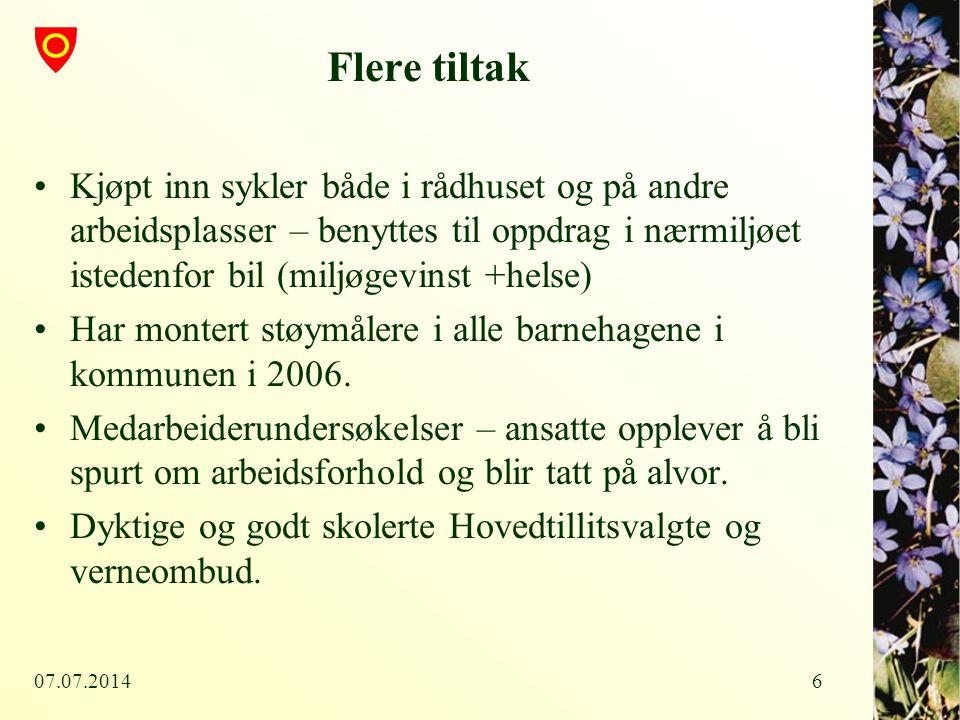 07.07.20147 Sykefraværsprosjektet Alle tiltakene som er vist foran ble videreført også etter at Ringerike kommune har sakt ja i 2006 til å delta som en av 12 Innsatskommuner sykefravær i kommune Norge.