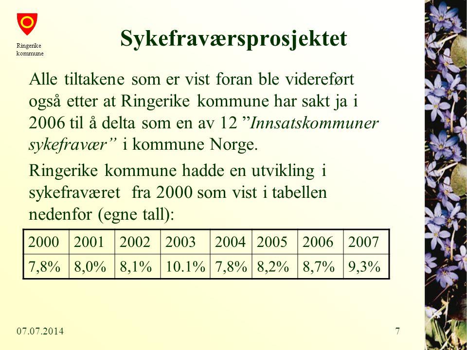 07.07.20147 Sykefraværsprosjektet Alle tiltakene som er vist foran ble videreført også etter at Ringerike kommune har sakt ja i 2006 til å delta som e