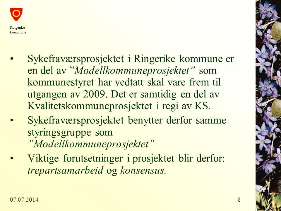 """07.07.20148 Sykefraværsprosjektet i Ringerike kommune er en del av """"Modellkommuneprosjektet"""" som kommunestyret har vedtatt skal vare frem til utgangen"""