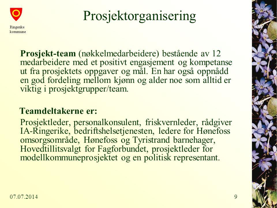 07.07.20149 Prosjektorganisering Prosjekt-team (nøkkelmedarbeidere) bestående av 12 medarbeidere med et positivt engasjement og kompetanse ut fra pros