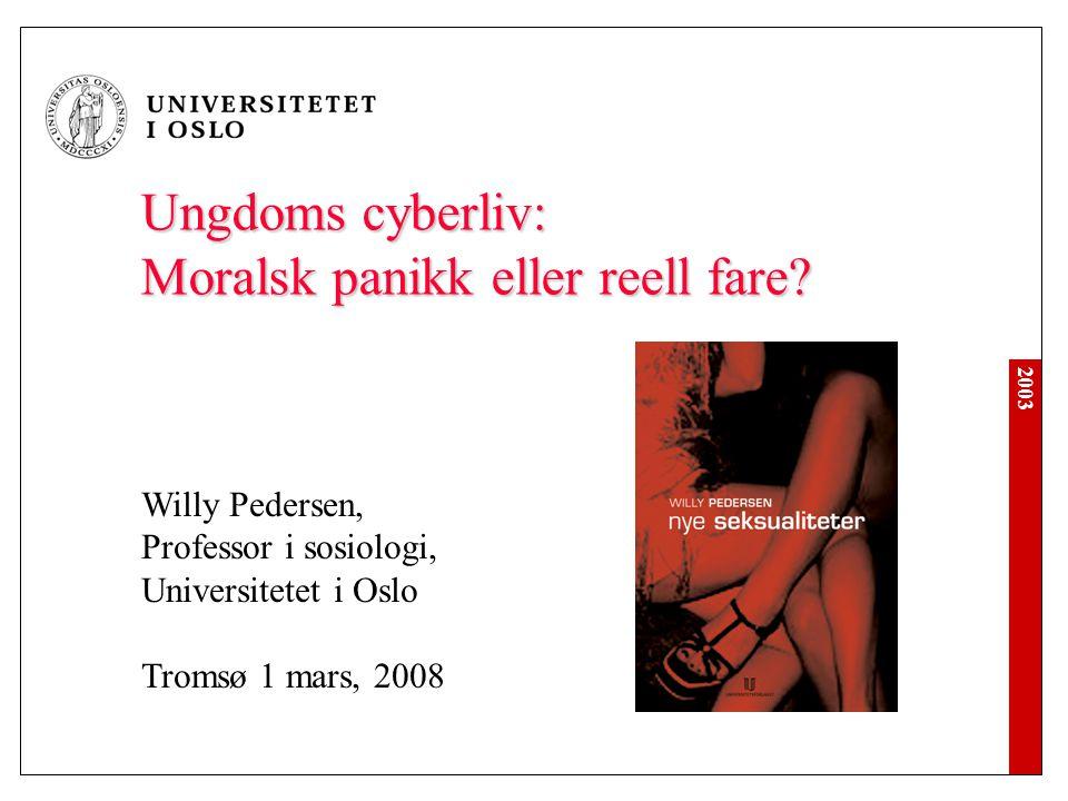 2003 Temaer En dom i Frostating Ungdom de siste ti år – rus, sex, cyberliv Risiko - reell og skapt Hvem er vi på nettet.