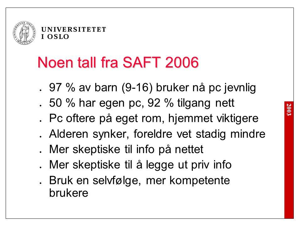 2003 Noen tall fra SAFT 2006 97 % av barn (9-16) bruker nå pc jevnlig 50 % har egen pc, 92 % tilgang nett Pc oftere på eget rom, hjemmet viktigere Ald