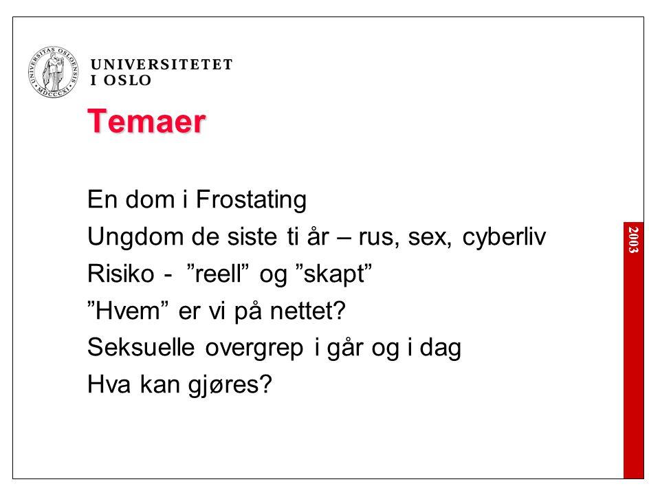 """2003 Temaer En dom i Frostating Ungdom de siste ti år – rus, sex, cyberliv Risiko - """"reell"""" og """"skapt"""" """"Hvem"""" er vi på nettet? Seksuelle overgrep i gå"""