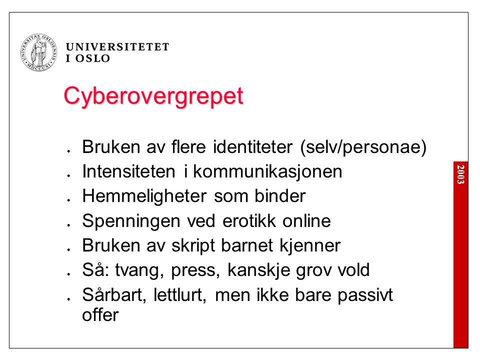 2003 Cyberovergrepet Bruken av flere identiteter (selv/personae) Intensiteten i kommunikasjonen Hemmeligheter som binder Spenningen ved erotikk online