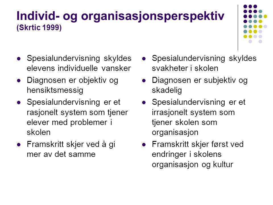 Individ- og organisasjonsperspektiv (Skrtic 1999) Spesialundervisning skyldes elevens individuelle vansker Diagnosen er objektiv og hensiktsmessig Spe