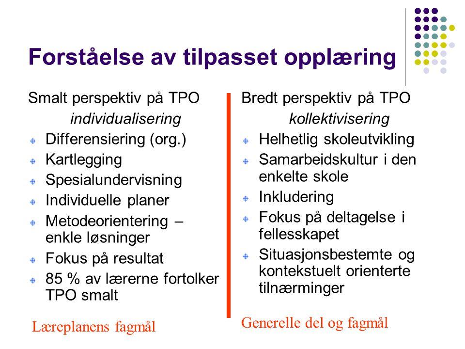 Forståelse av tilpasset opplæring Smalt perspektiv på TPO individualisering Differensiering (org.) Kartlegging Spesialundervisning Individuelle planer