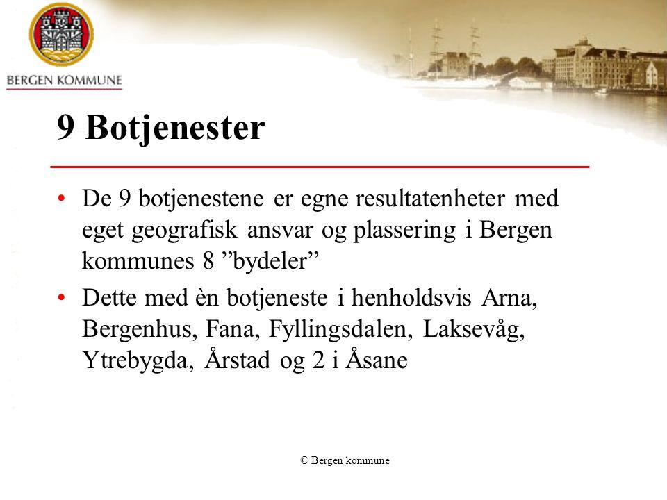 """© Bergen kommune 9 Botjenester De 9 botjenestene er egne resultatenheter med eget geografisk ansvar og plassering i Bergen kommunes 8 """"bydeler"""" Dette"""
