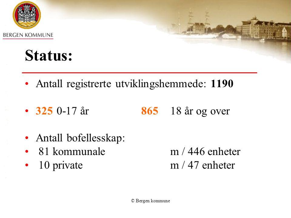 © Bergen kommune Status: Antall registrerte utviklingshemmede: 1190 325 0-17 år865 18 år og over Antall bofellesskap: 81 kommunale m / 446 enheter 10