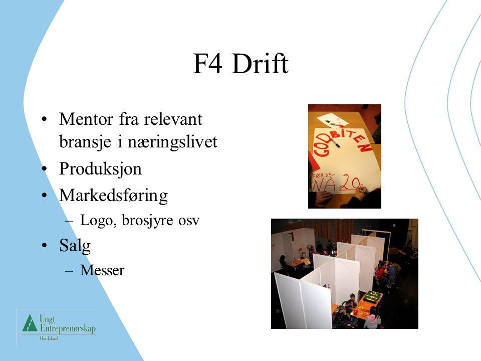 F4 Drift Mentor fra relevant bransje i næringslivet Produksjon Markedsføring –Logo, brosjyre osv Salg –Messer