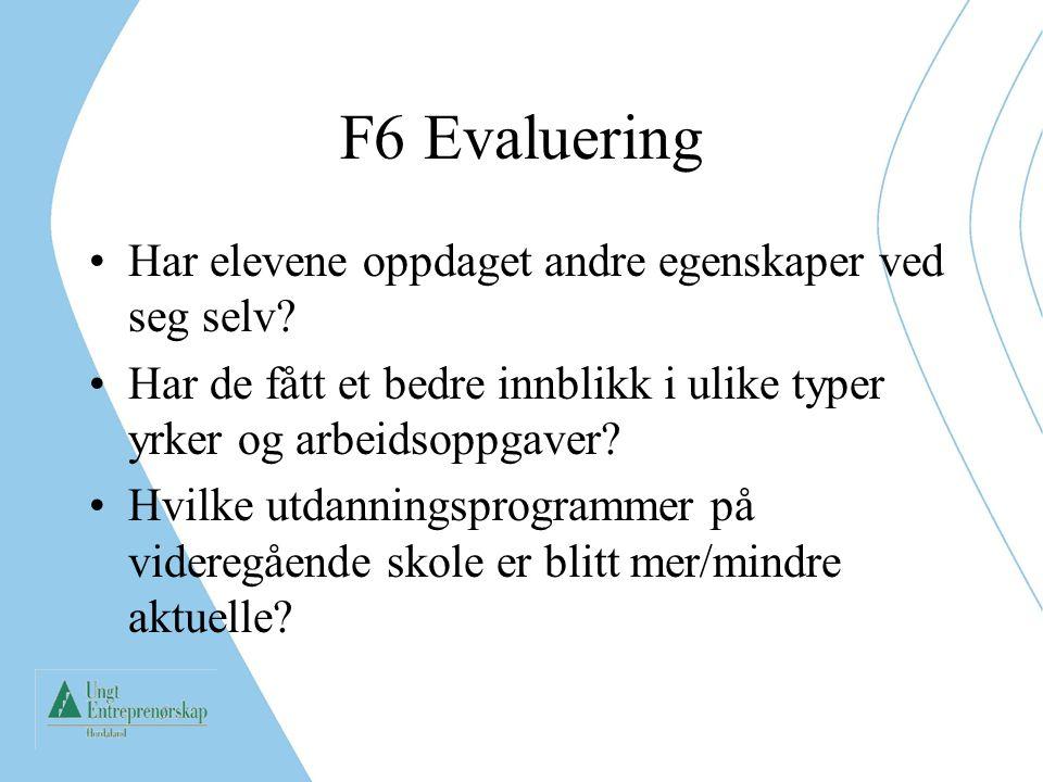 F6 Evaluering Har elevene oppdaget andre egenskaper ved seg selv? Har de fått et bedre innblikk i ulike typer yrker og arbeidsoppgaver? Hvilke utdanni