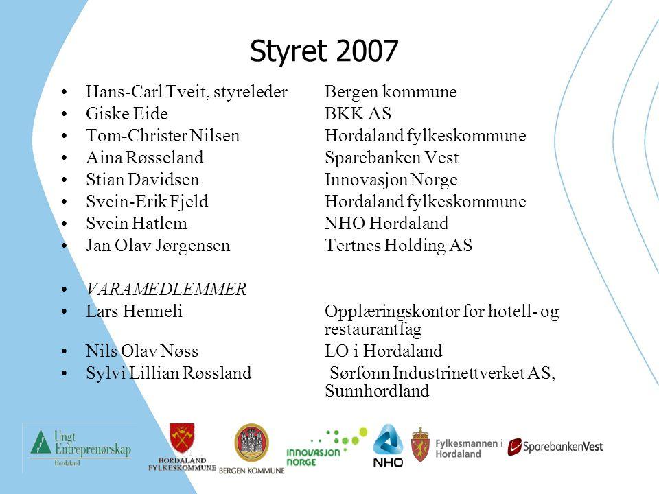 Styret 2007 Hans-Carl Tveit, styrelederBergen kommune Giske Eide BKK AS Tom-Christer NilsenHordaland fylkeskommune Aina RøsselandSparebanken Vest Stia