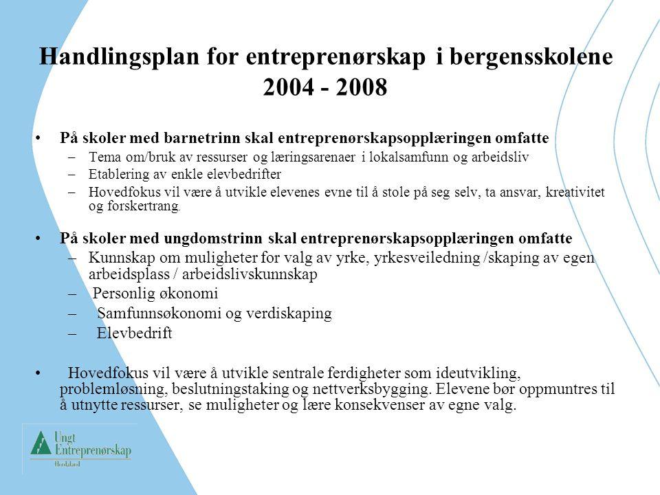 Handlingsplan for entreprenørskap i bergensskolene 2004 - 2008 På skoler med barnetrinn skal entreprenørskapsopplæringen omfatte –Tema om/bruk av ress