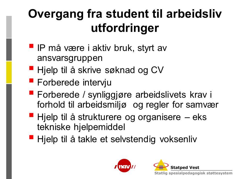 Overgang fra student til arbeidsliv utfordringer  IP må være i aktiv bruk, styrt av ansvarsgruppen  Hjelp til å skrive søknad og CV  Forberede inte