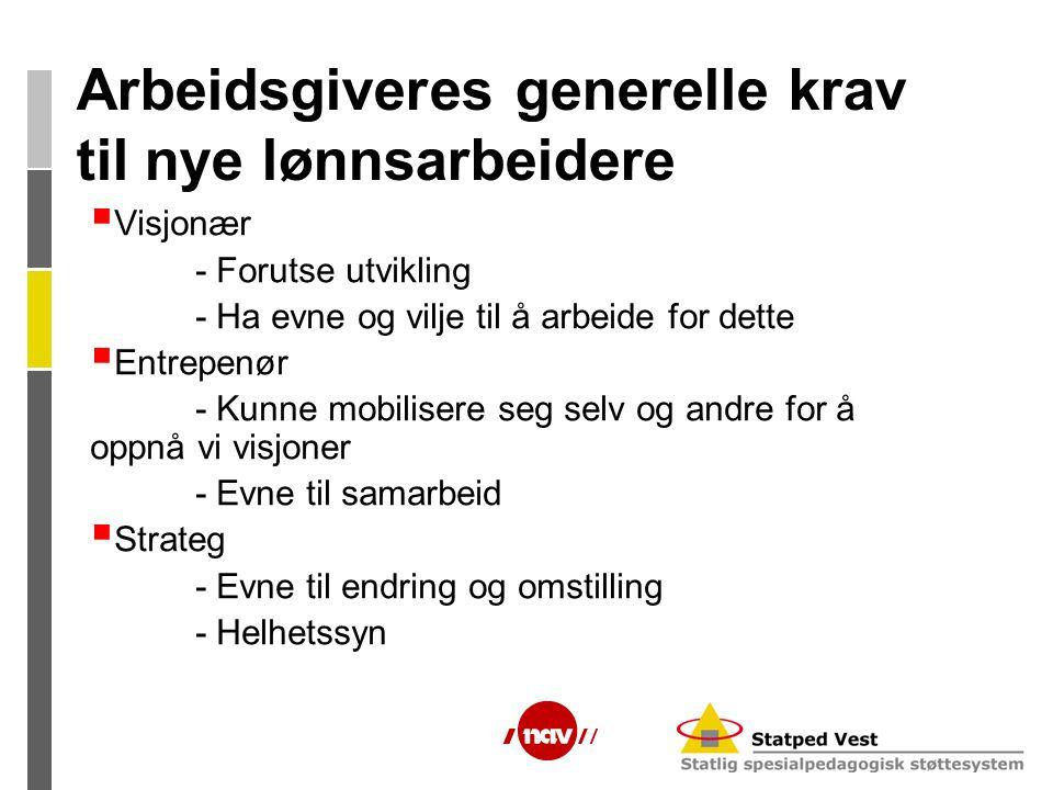 Arbeidsgiveres generelle krav til nye lønnsarbeidere  Visjonær - Forutse utvikling - Ha evne og vilje til å arbeide for dette  Entrepenør - Kunne mo
