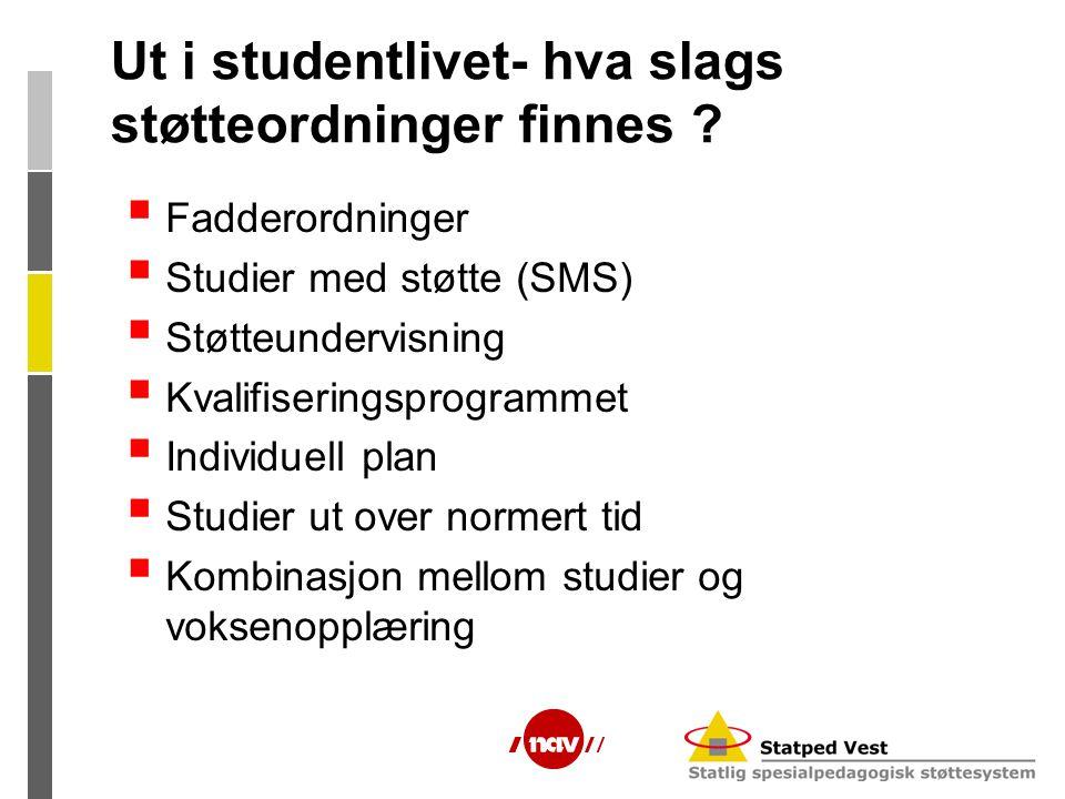 Ut i studentlivet- hva slags støtteordninger finnes ?  Fadderordninger  Studier med støtte (SMS)  Støtteundervisning  Kvalifiseringsprogrammet  I